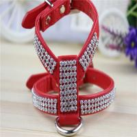 Quality High Grade Crystal Rhinestone Decorated PU Leather Dog Pet Harnesses for Small and Medium wholesale