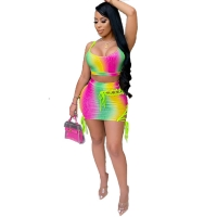 China Clothing Fashion Printing Color Clothes Bandage Short Skirt Wrapped Chest Two-Piece Suit sexy party dresses women  skirt on sale