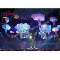 Quality White Cloud Shapes Inflatable Stage Decoration , Indoor Ceiling Blow Up Light wholesale