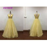Quality Bling Yellow Sleeveless Prom Ball Gowns For Ladies Beading Pattern Customized Size wholesale