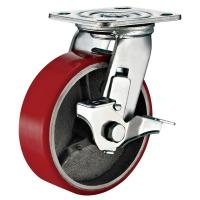 Quality Lockable Industrial Trolley PU Caster Wheel With Plate Fitting 4 Inches wholesale