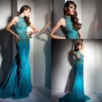 Quality Vintage Mermaid Sheer Lace Halter Long Evening Gowns for Summer , Spring wholesale