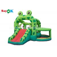 Quality Cute Green Frog Inflatable Bouncer Castle With Slide For Kids Party wholesale
