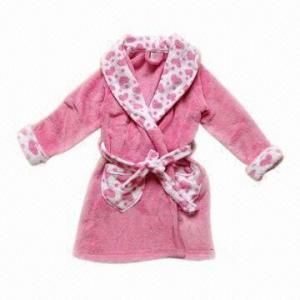 Quality Ladies' color block coral fleece robes, super soft wholesale
