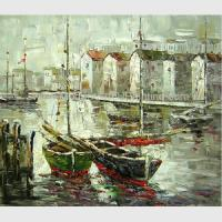 China Bright Hand Painted Boats Oil Painting At Low Tide , Modern Abstract Canvas Art on sale