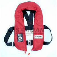 China EC / MED Approval 150N Orange Red Double Air Chamber Inflatable Life Jacket With Harness on sale
