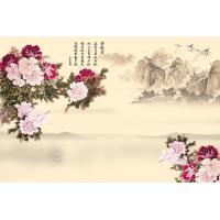 Buy cheap Peony Bamboo Fiber Fiber Wall Panels Crystal Surface For Restaurant Background Wall from wholesalers