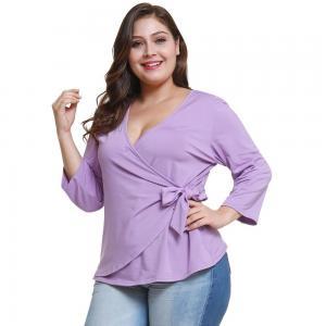 Quality Custom Made V Neck Plus Size Ladies Shirts Long Sleeve Ruffles Decoration wholesale