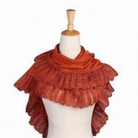 Cheap Acrylic Cashmere Scarf with Solid Color, Knitted, Beautiful Lace, Customized Colors Welcomed for sale