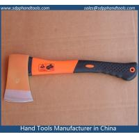 Quality felling axe with fiberglass handle with rubber grip, forged axe head, colorful plastic costed fiberglass handle wholesale