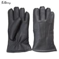 Quality Deerskin Fur Lined Mens Soft Leather Gloves Classic Hand Sewing Stitching wholesale