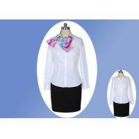 Quality Casual V Neck Office Work Uniforms , White Lapel Collar Womens Work Uniforms wholesale