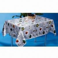 China PVC Table Cover, Available in Various Sizes and Shapes on sale