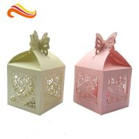 Quality Texture Customized  250G Peral Paper Gift Chocolate Packaging Boxes , Wedding Favor Boxes With Ribbons wholesale