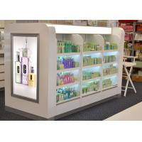 Quality Wooden Glass Shelf Cosmetic Display Case Decorated With Gorgeous Light Box wholesale