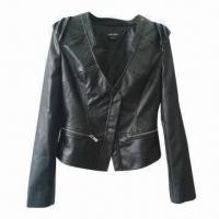 China Women's PU Leather Jacket, OEM/ODM Orders are Welcome on sale