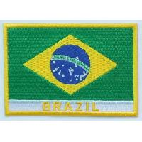 Quality  Custom 100% twill Brazil national embroidered flag patches, hot cut border,iron on backing wholesale