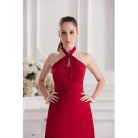 Quality Multi Sizes Halter A Line Red Chiffon Celebrities Evening Dresses Gowns for Girls / Womens wholesale