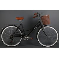 Quality Hi-ten steel black 26 inch OL elegant city bike for lady  with Shimano 7 speed with basket wholesale
