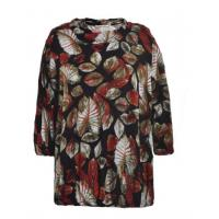 Quality Comfortable Ladies Oversized Blouses , Pretty Womens Printed Blouses Dark Color wholesale