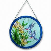Quality Spring Painting Glass Hanging Craft with Metal Chain and Measures 13 x 0.25 x 19.25inch wholesale