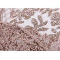 China Ostrich Feather Bridal Lace Fabric / Embroidery Gold Sequin Lace Fabric on sale