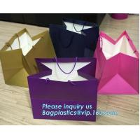 Quality Laminated Customized Luxury Retail Shopping Packaging Logo Gold foil Paper Bags For Clothes / Clothing with Ribbon Bow wholesale