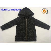 Quality Garment Dyed Kids Hooded Jacket 100% Cotton French Terry Long Sleeve Front Zip Closure wholesale