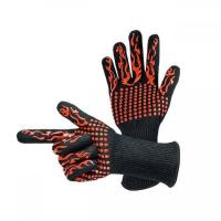 China Heat Resistant BBQ Grill Gloves Mixed Fibre Liner Criss Cross Finishing on sale
