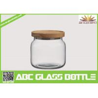 Cheap Wholesale clear food glass jar with wooden lid for sale