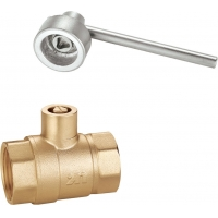 China 1411 Internal Threaded Magnetic Lockable Brass Ball Valve DN15 DN20 DN25 DN32 DN40 DN50 with Triangle Pattern Stemhead on sale