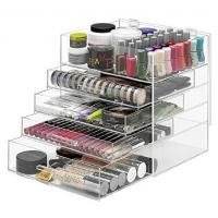 Cheap NEW! DELUXE MAKEUP ORGANIZER - ACRYLIC 5 TIER DRAWER COSMETIC DISPLAY CASE for sale