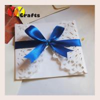 Quality Luxurious white wedding banquet invitation card 15 by 15cm with blue ribbon wholesale