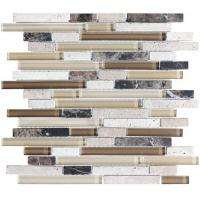 Quality Random Mix Stone And Glass Kitchen Backsplash Mosaic Tiles Linear Type wholesale