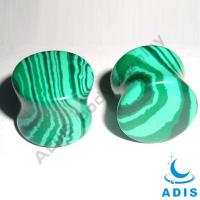 Quality Gauge Ear Tunnel Natural Stone Watermelon Green Stone Plugs Adis Body Jewelry wholesale