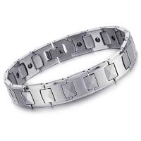 China Fashion Natural color Corrosion resistance Men tungsten bracelet with energy magnetic stone inlaid on sale