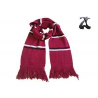 Quality Red And White Knit Sweater Scarf , Striped Scarf With Fringe And Embroidery wholesale