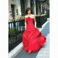 Quality Red Strapless A-line Taffeta Gown with Sweetheart Neckline, Delicate Beading Along Bodice wholesale