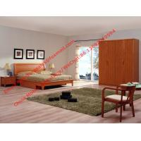 Quality Red cherry wood made grand Germany quality style furniture by Bent plate headboard bed and large armoire cabinet wholesale