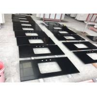 Quality Black Mirror Artificial Quartz Stone Slab Countertop For Kitchen A Grade Pure Black Color wholesale