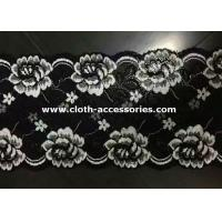 Quality Embroidered Metallic Lace Trim / Rose White , Black Floral Lace Fabric wholesale