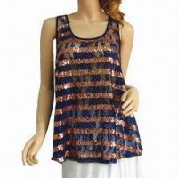 China Stripe Sequin Racer Back Tank Top, OEM Orders are Welcome on sale