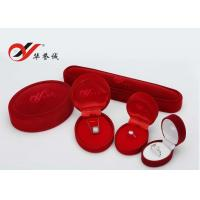 Simple Design Velvet Jewelry Box Oval Red Flocking Ring Gift Box For Jewelry Packaging