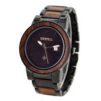 Quality Luxury Metal and Red Sandalwood Wristwatch / Men Wooden Watches For Festival Gift wholesale
