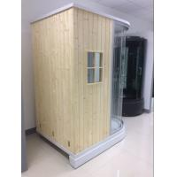 Cheap Recantangel Sauna Room Bathroom Shower Cabins 2 Sided Waste Drain / Wooden Room for sale