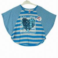 China Girls' fashionable T-shirt, made of 50% polyester and 50% rayon Y/D on sale