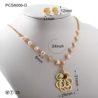 Quality Pearl Gold Or Silver Hollow Flover Stainless Steel Jewelry Set Classic Style wholesale