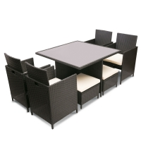 Quality L42cm Ottoman Rattan Table And Chairs wholesale