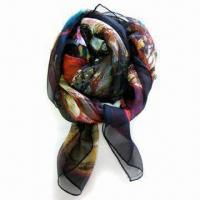 Quality Ladies Scarf, Made of 100% Silk with Digital Printing, Measures 85 x 5cm wholesale