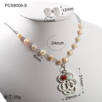 Cheap Pearl Gold Or Silver Hollow Flover Stainless Steel Jewelry Set Classic Style for sale